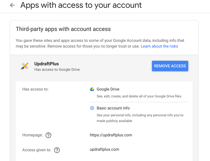 Remove third party apps from google